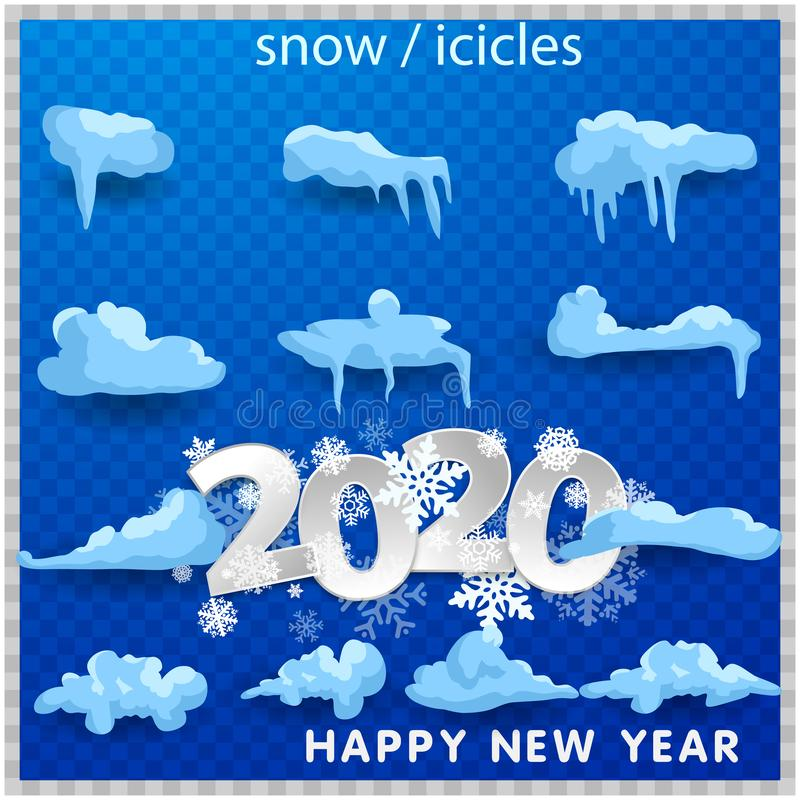 2020 Big set of snow icicles and snow cap isolated. Cartoon snowy elements over winter background. 2020 Christmas, snow texture, stock illustration