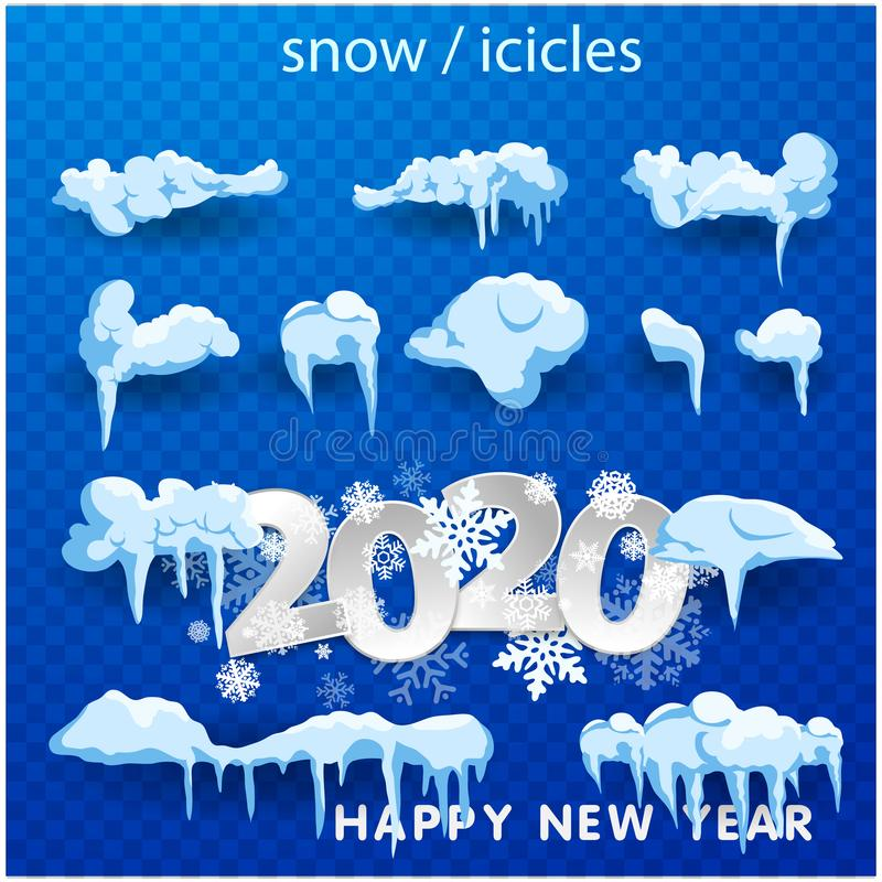 2020 Big set of snow icicles and snow cap isolated. Cartoon snowy elements over winter background. 2020 Christmas, snow texture, royalty free illustration