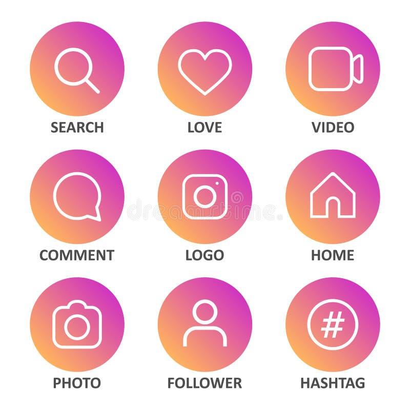 Big set of social media icons. Vector illustration royalty free illustration