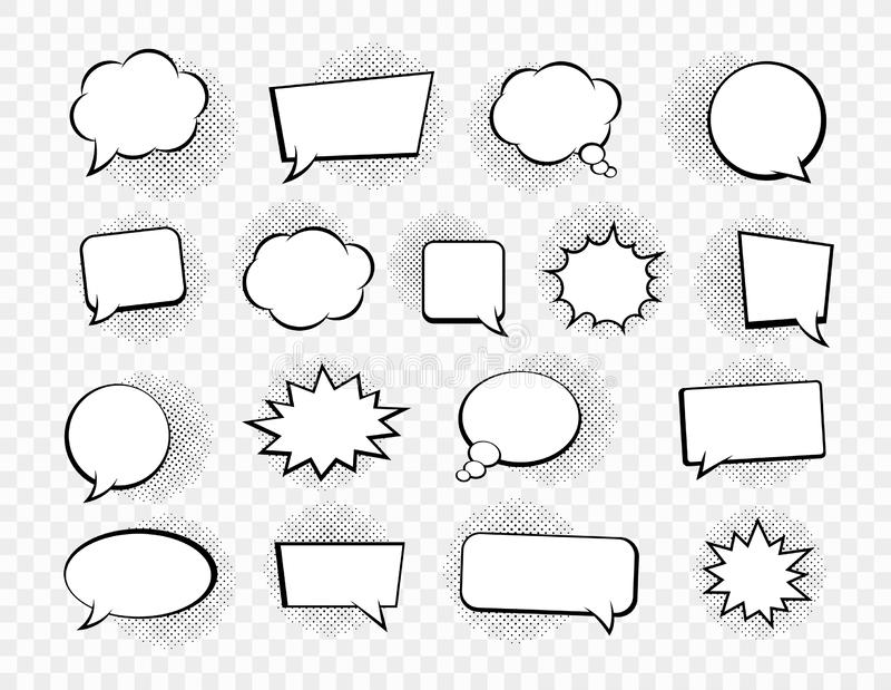 Big set of speech bubbles. Retro empty comic bubbles. Stickers. Vector illustration. Big set of speech bubbles. Retro empty comic bubbles. Stickers. Vector royalty free illustration