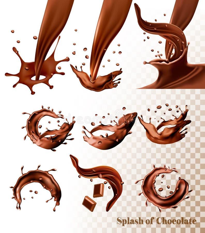 Big set of Splash of chocolate on transparent background. vector illustration