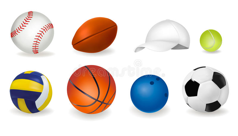 Download Big Set Of Sport Balls And Tennis Cap. Vector Stock Vector - Image: 18355640