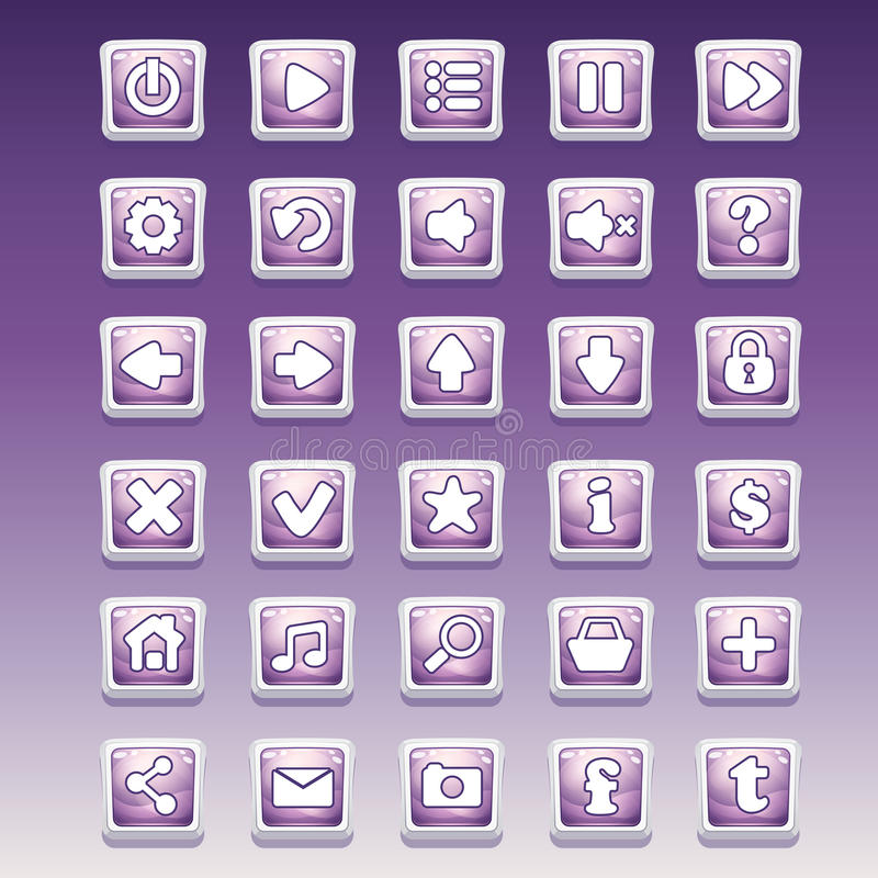 Big set of square buttons with different glamorous image for the user interface and web design.  royalty free illustration
