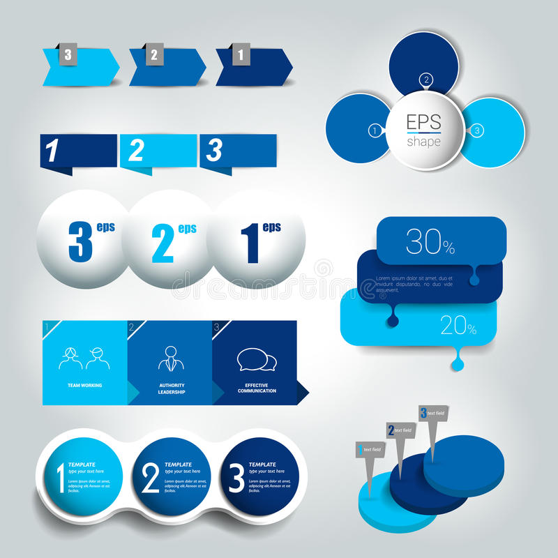 Big set of 3 steps round diagram, graph, chart, flowchart, banner template. Vector illustration vector illustration