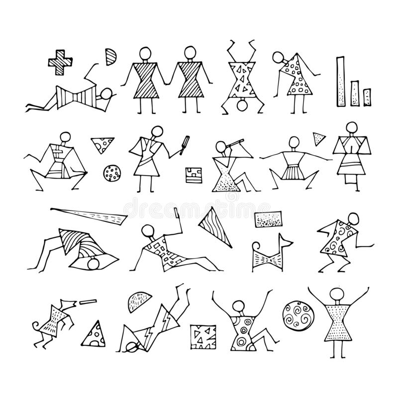 Big set of stick figures for infographics. Includes small geometric elements. People lifestyle. Cartoon icons set. Sketch Hand drawn vector illustration stock illustration