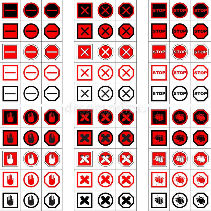 Big Set Of Stop Signs And Icons Stock Vector Illustration Of Cross