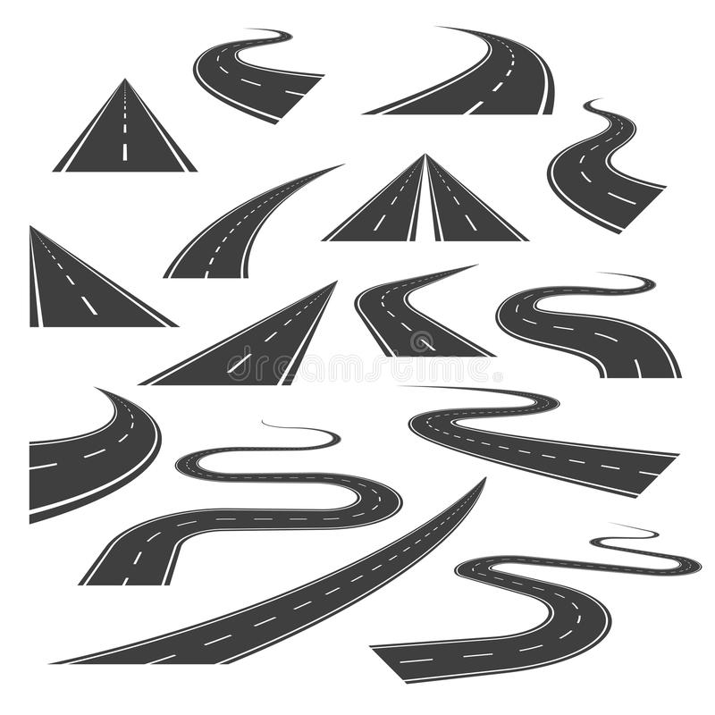 Big set of street or road curves, turns, and perspectives. Big set of asphalt road curves, turns, bankings, and perspectives. Bending road, highway or roadway royalty free illustration