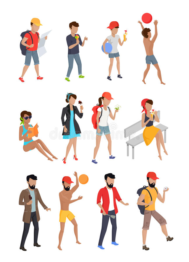 Big Set Summer People Characters. Personages on vacation vector flat design illustration. Hiking, playing ball, eating coking, walking, seating, standing woman royalty free illustration
