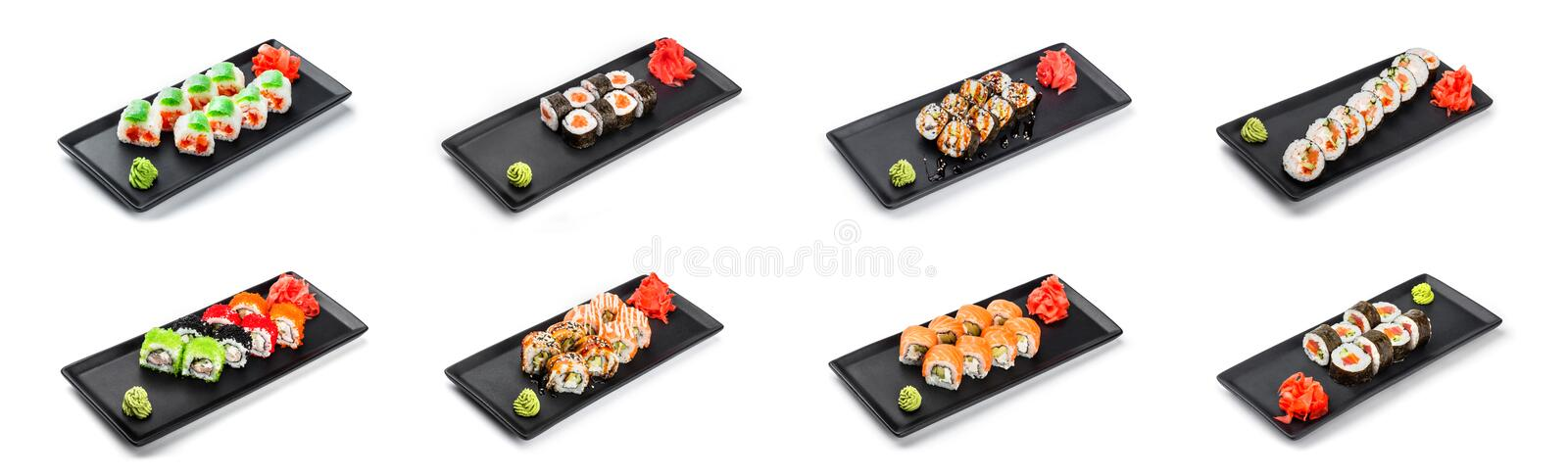 Big set of Sushi Roll - Maki Sushi on black plate isolated over white background. royalty free stock images