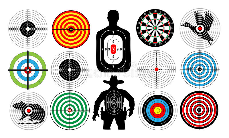 Big set of targets isolated animals people cowboy man. royalty free illustration