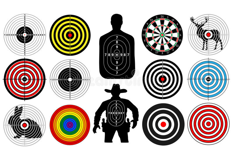 Big set of targets isolated animals people cowboy man. Targets for shooting. Darts board. vector illustration
