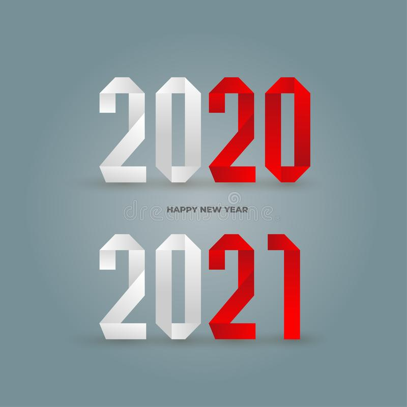 Big Set of 2020 text design pattern. Collection of Happy New Year and happy holidays. Vector illustration. Isolated on white stock illustration