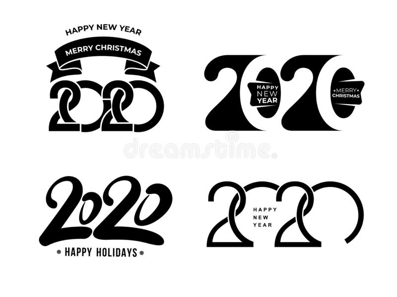 Big Set of 2020 text design pattern. Collection of Happy New Year and happy holidays. Vector illustration. Isolated on white royalty free illustration