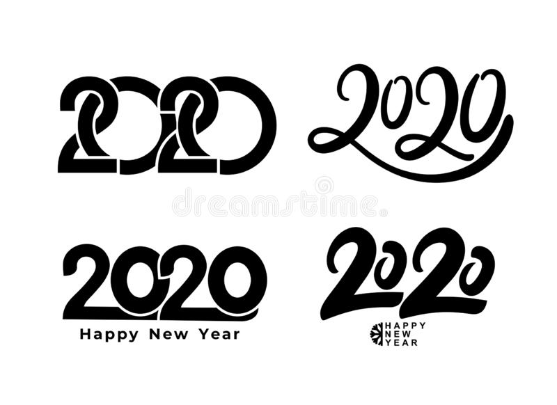 Big Set of 2020 text design pattern. Collection of Happy New Year and happy holidays. Vector illustration. Isolated on white vector illustration