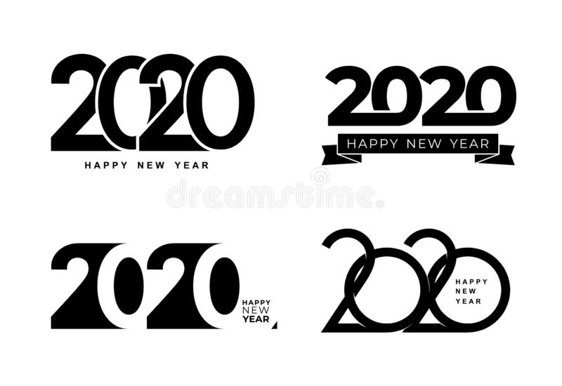 Big Set of 2020 text design pattern. Collection of Happy New Year and happy holidays. Vector illustration. Isolated on white stock image
