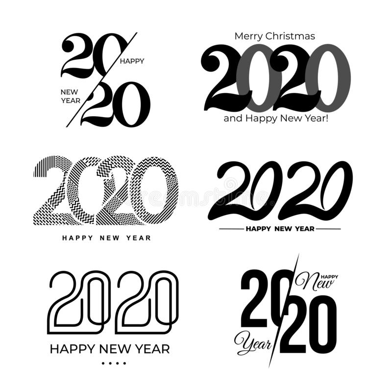 Big Set of 2020 text design pattern. Collection of logo 2020 Happy New Year and happy holidays. Vector illustration.  on vector illustration