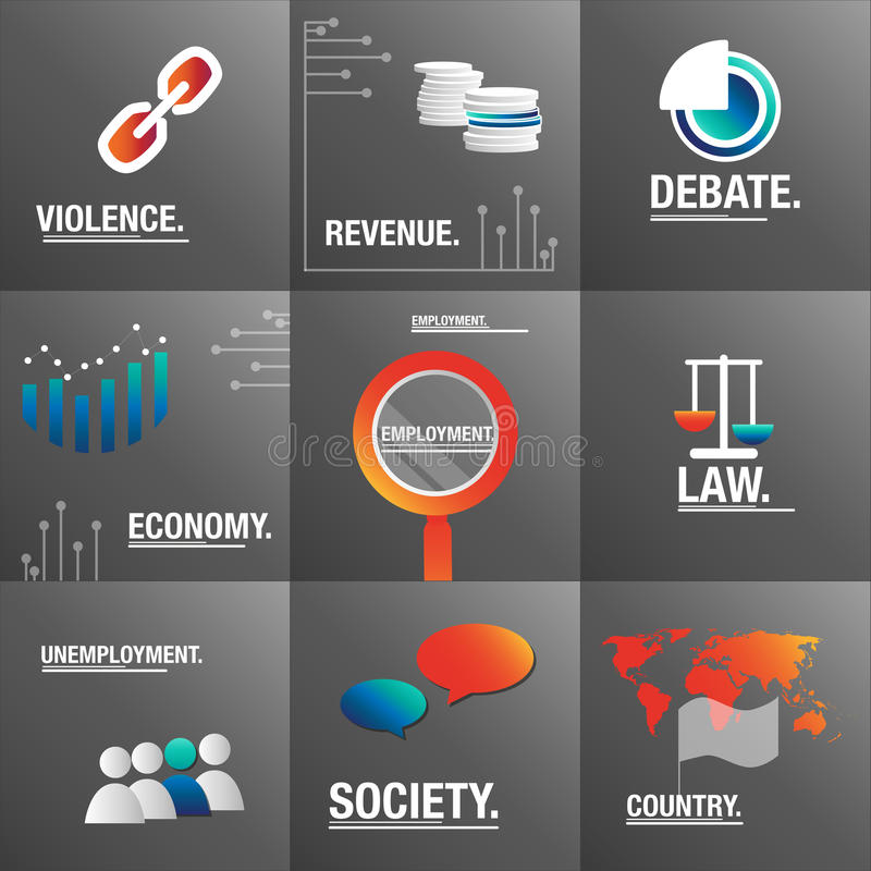 Big set to talk about violence issues and economy. Economy international accords for countries royalty free illustration