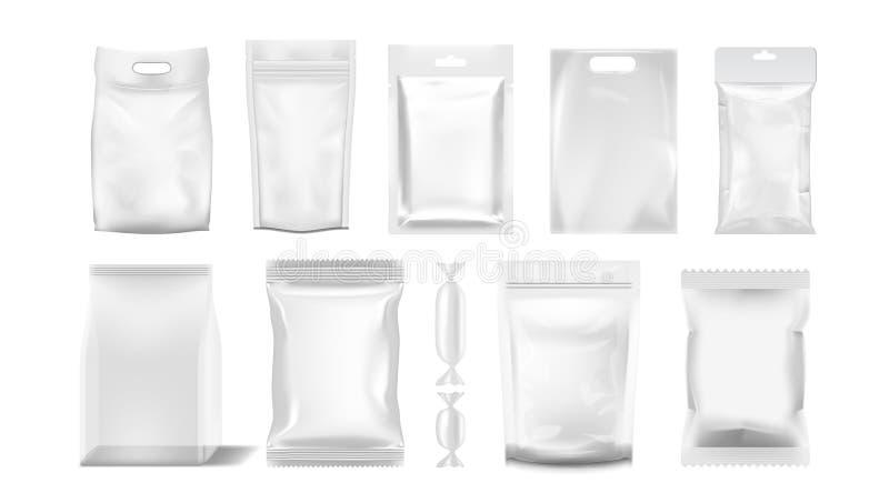 Big Set Of Transparent Empty Plastic Packaging stock illustration
