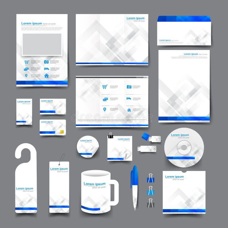 Big set trifold flyer brochure business card letter head envelop vector illustration