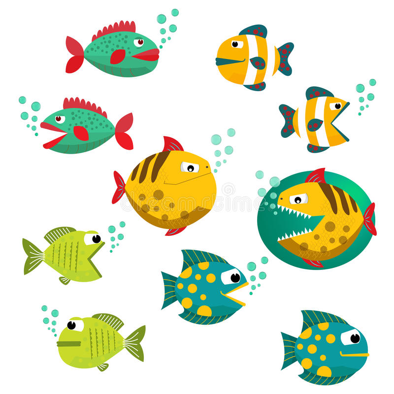 Big Set of tropical fishes, vector illustration. Fishes with open and closed mouth with bubbles. Fish flat style vector royalty free illustration