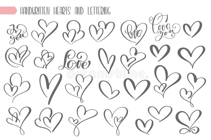 Big set valentines day hand written lettering heart love to design poster, greeting card, photo album, banner, vintage. Calligraphy vector illustration stock illustration