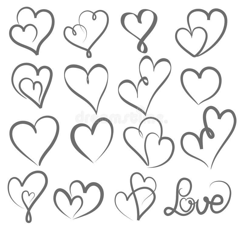 Big set valentines day hand written lettering heart love to design poster, greeting card, photo album, banner, vintage vector illustration