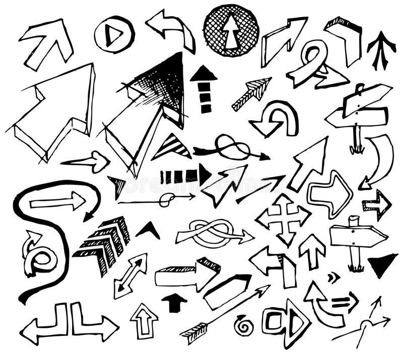 Big set of various black doodle arrows stock illustration