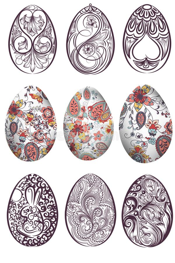 Big set of vector Easter eggs decorated with swirls stock illustration