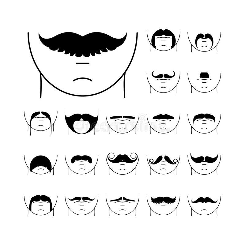 Big set of vector hipster mustache. Collection of cartoon barber silhouette hairstyle . Various types of whiskers royalty free illustration