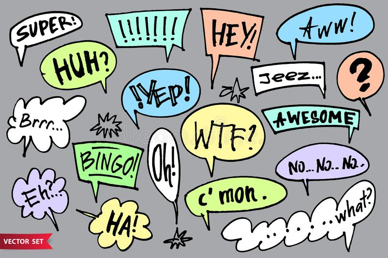 Big set of vector speech bubble doodle style. Hand drawn call outs with various interjections. Marker drawm messages and. Exclamations vector illustration
