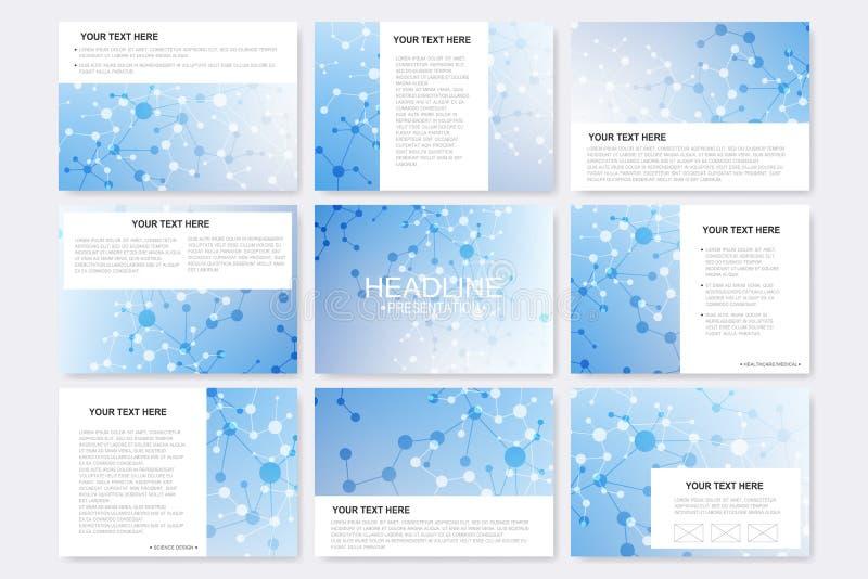 Big set of vector templates for presentation slides. Modern graphic background molecule structure and communication vector illustration