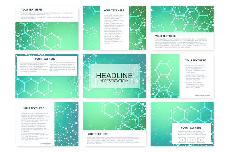 Big set of vector templates for presentation slides. Modern graphic background structure molecule and communication vector illustration