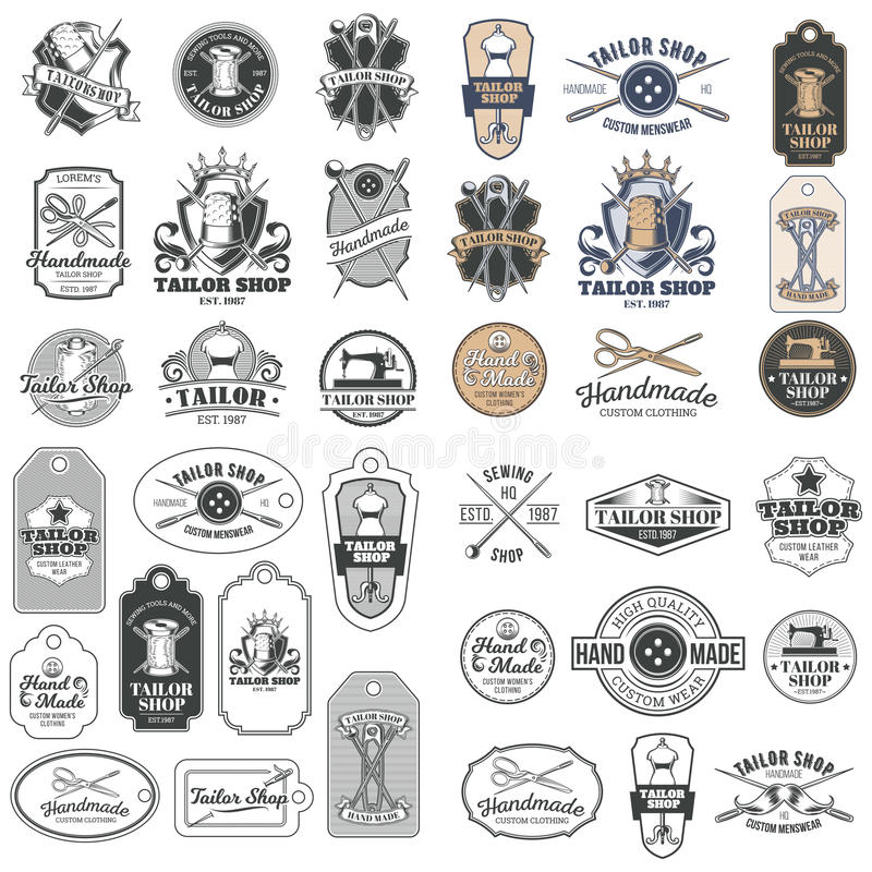 Big set of vector vintage tailor badges, stickers, emblems , signage. With sewing needles, pins, thimbles, buttons, coils of thread, sewn on tags stock illustration