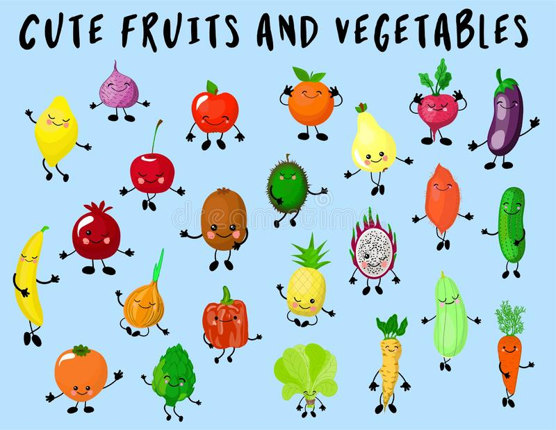 Big set of vegetables and fruits isolated. The characters are funny and cute. Products with eyes and smiles. Healthy food stock illustration