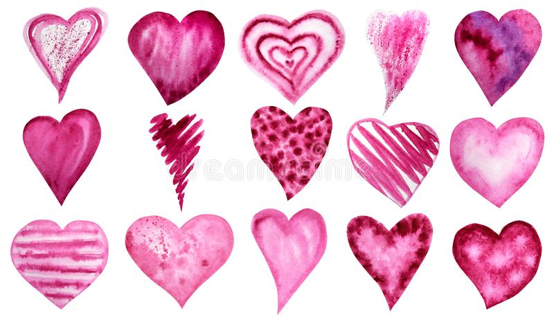 Set of watercolor hearts icon collection. Hand drawn various red pink hearts isolated on white background. Wedding or. Big Set of watercolor hearts icon vector illustration