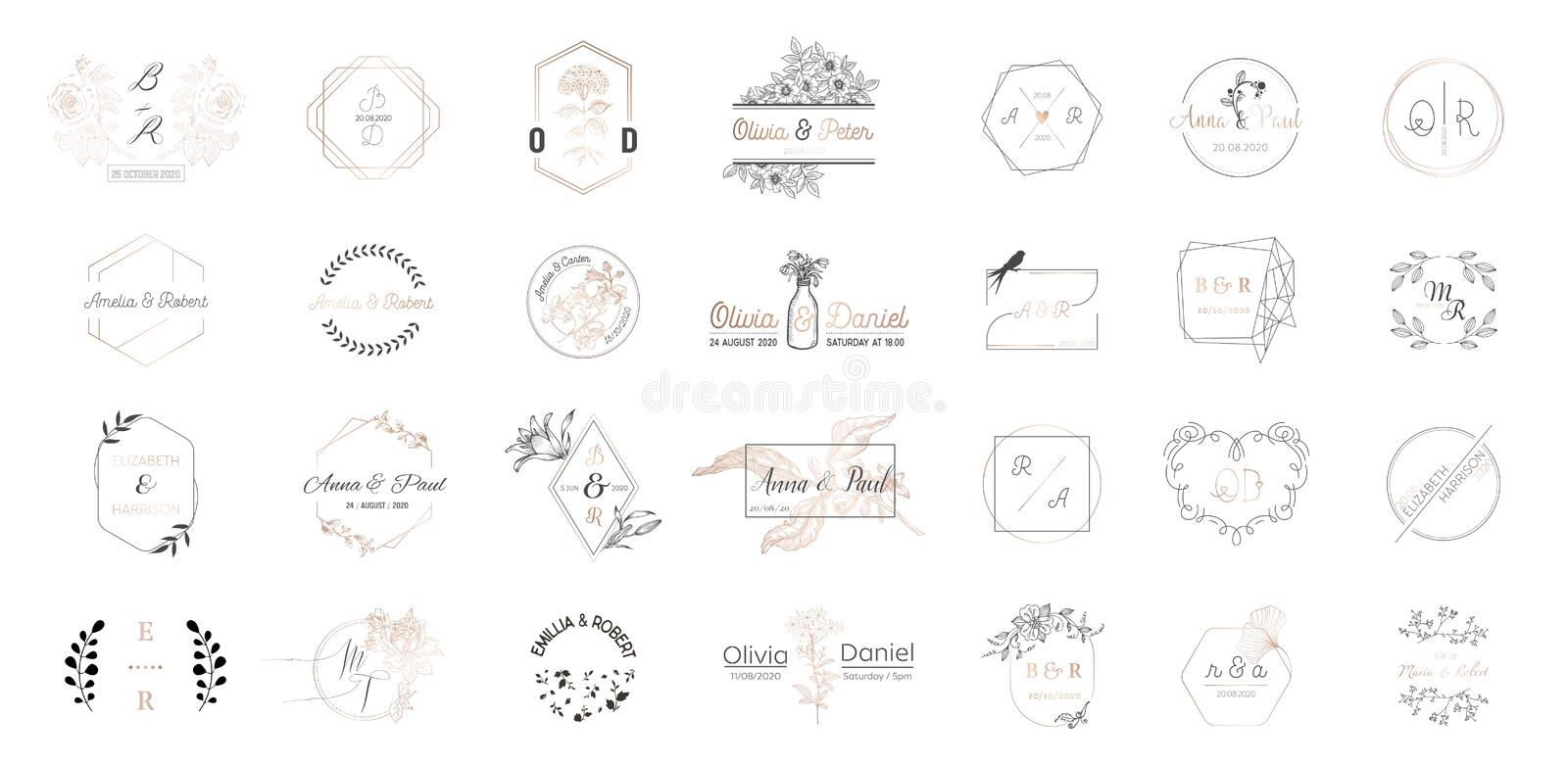 Big set of Wedding monogram logos collection, hand drawn modern minimalistic and floral templates for Invitation cards stock illustration