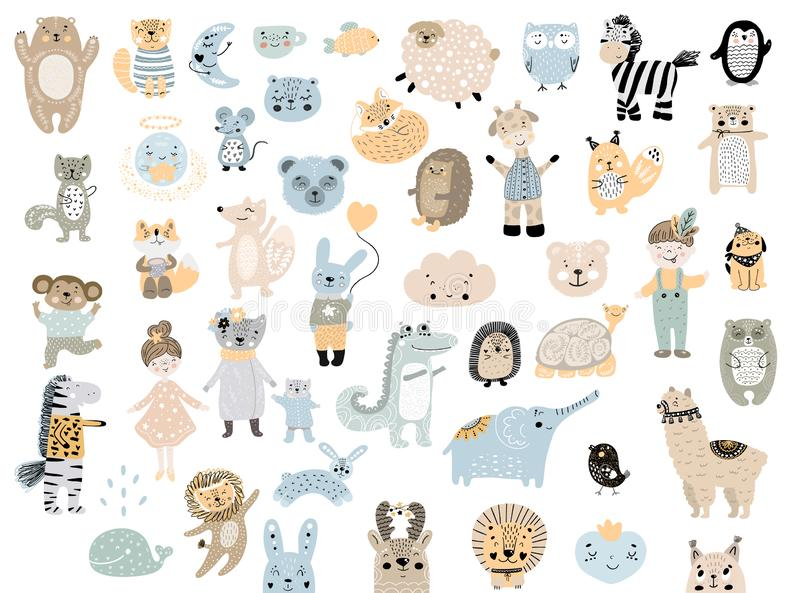 Big set of wild cartoon animals pets. Cute handdrawn kids clip art collection. stock illustration