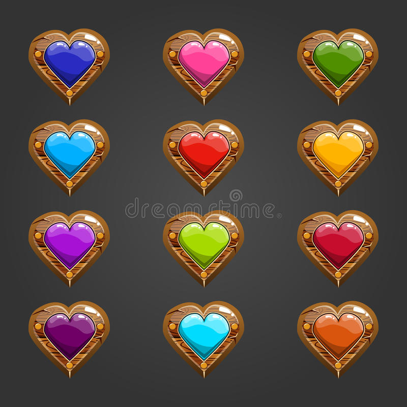 Big set with wooden heart. Game design items stock illustration