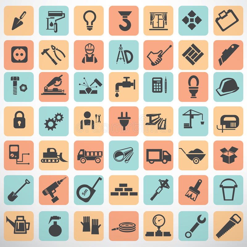 Big set of work tools and construction icons stock illustration