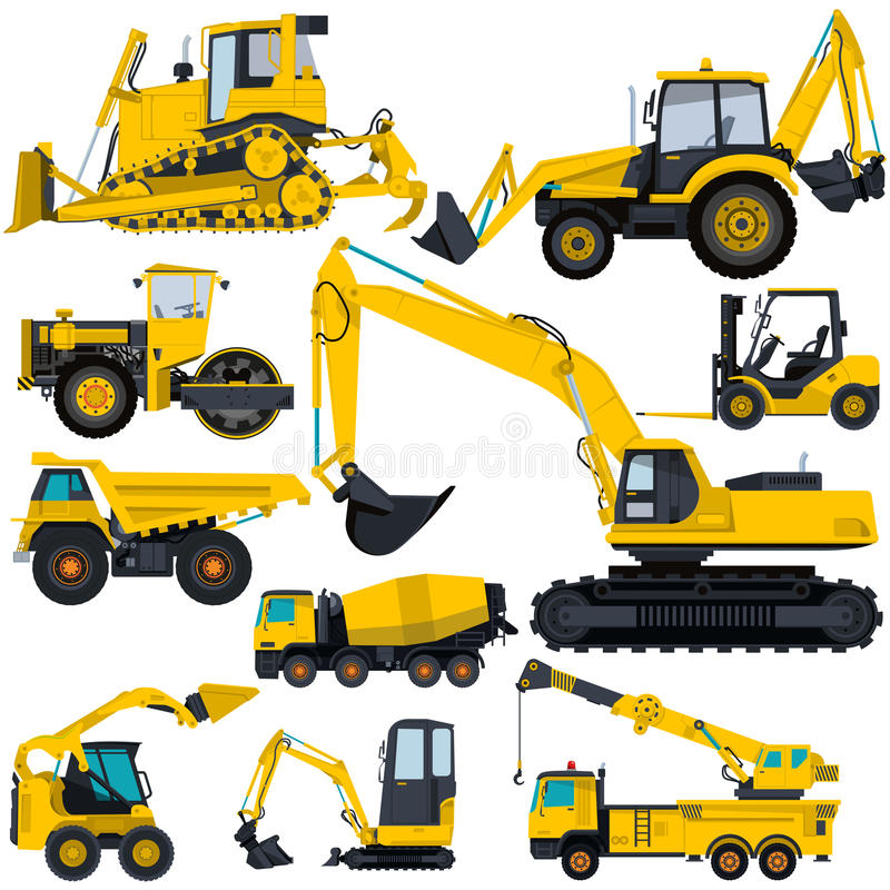 Big set of yellow heavy machines - ground works. Nice Big Set of Ground Works Yellow Machines Vehicles Construction and Equipment for building Truck Digger Crane royalty free illustration
