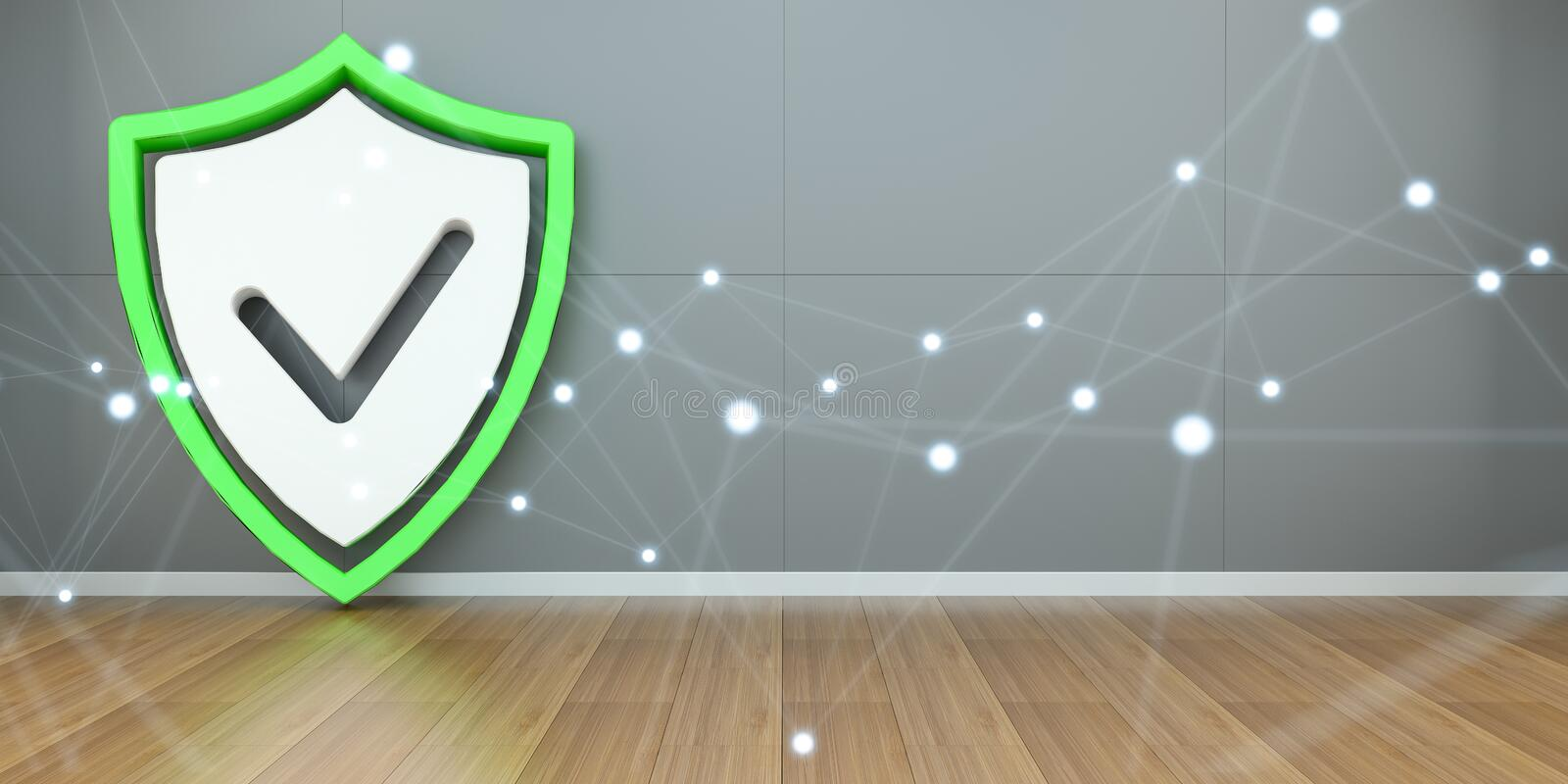 Shield icons in interior with connections 3D rendering royalty free illustration