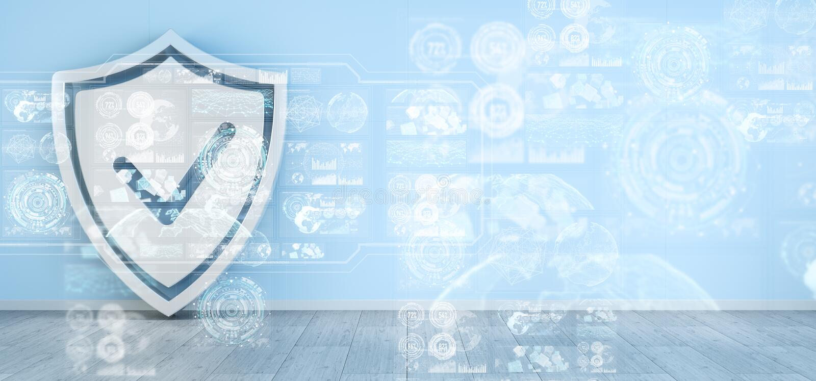 Shield icons in interior with web interface 3D rendering stock illustration