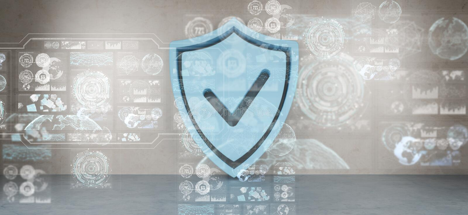 Shield icons in interior with web interface 3D rendering royalty free illustration