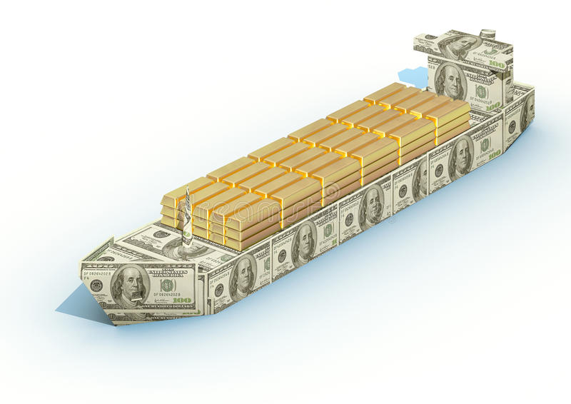 Download Big Ship From A Money With Cargo Of Gold Ingots Stock Illustration - Image: 9667045