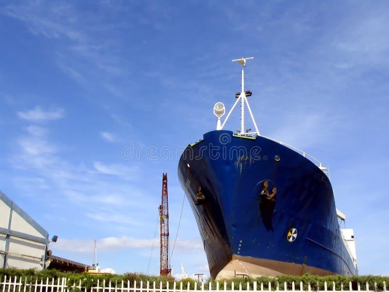 Big ship in a shipyard royalty free stock photography