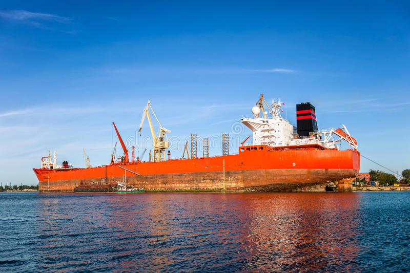 Download Big ship in a shipyard stock photo. Image of polish, pier - 35590454