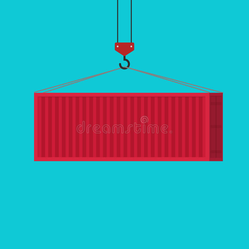 Big shipping container red loading via crane vector illustration, idea of freight equipment clipart isolated, flat stock illustration