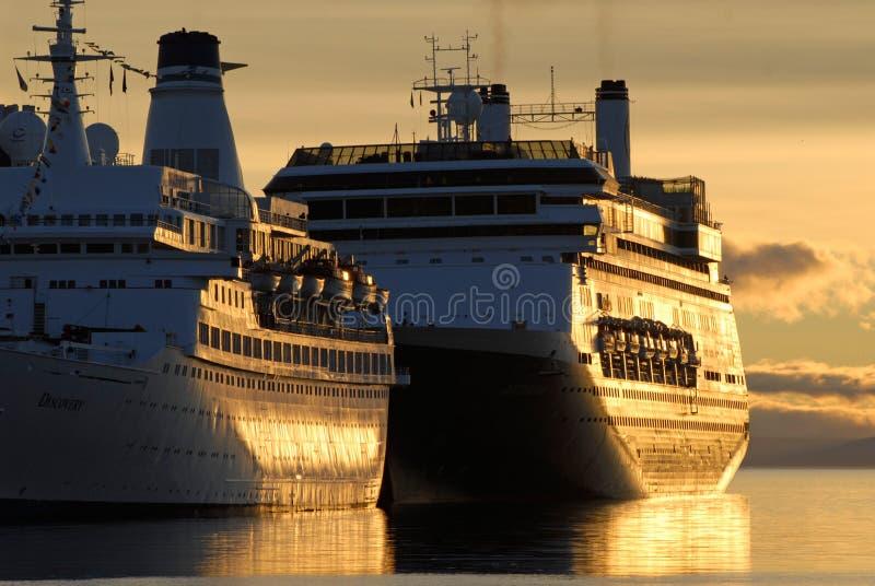 Big ships in town Ushuaia, Argentina stock photos