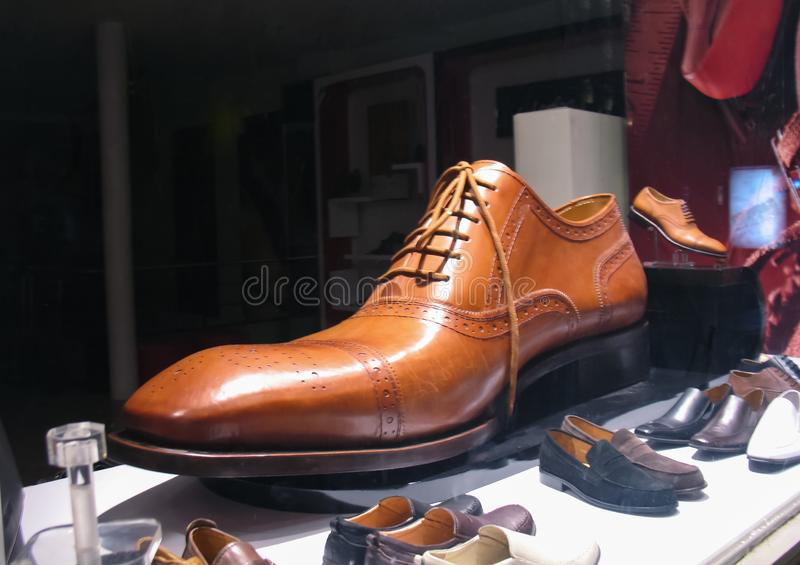 A big shoe from a shop. Shopping stock images