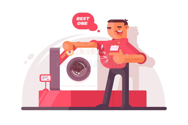 Big shop seller vector illustration